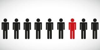 Jeden czerwona specjalna osoba w grupowym piktogramie Zdjęcie Royalty Free