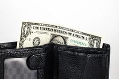 Jeden dolar amerykański w portflu Fotografia Royalty Free