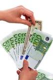 Jeden dolar i banknoty 100 euro Zdjęcia Royalty Free