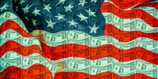 Jeden dolara amerykańskiego banknot z Stany Zjednoczone flagą zdjęcia stock