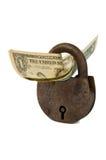 Jeden dolara banknoty i ośniedziała kłódka Obrazy Stock