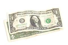 Jeden dolara banknoty odizolowywający Fotografia Royalty Free