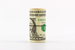 Jeden dolara banknoty staczający się up z rubberband. Zdjęcia Stock