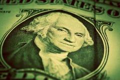 Jeden dolarowego rachunku zakończenie up Ostrość na George Washington oczach Fotografia Royalty Free