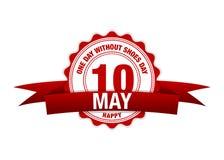 Jeden dzień Bez buta dnia 10 Maja faborku kalendarz Wektorowa czerwień Zdjęcia Royalty Free