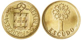 Jeden escudo moneta Odizolowywająca Fotografia Stock