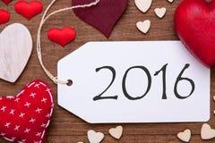 Jeden etykietka, Czerwoni serca, tekst 2016, Makro- Zdjęcie Stock