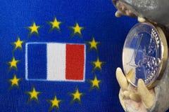 Jeden euro menniczy, flaga Francja Zdjęcie Stock