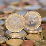 Jeden euro menniczy Malta Zdjęcie Royalty Free
