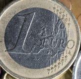 Jeden euro Menniczy zakończenie Up Obraz Royalty Free