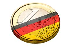 Jeden euro niemiec flaga Menniczy symbol Fotografia Stock