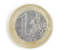 Jeden euro używać monety Zdjęcia Royalty Free