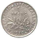 jeden francuskiego franka moneta Obrazy Royalty Free