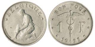 Jeden frank moneta Odizolowywająca Fotografia Royalty Free