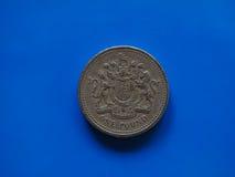 Jeden Funtowa GBP moneta, Zjednoczone Królestwo UK nadmierny błękit Obrazy Royalty Free
