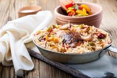 Jeden garnka kurczaka ryż Fotografia Royalty Free