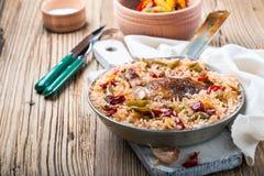 Jeden garnka kurczaka ryż Zdjęcia Stock
