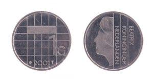 Jeden holenderskiego guldenu moneta, stary pieniądze od holandii Zdjęcia Stock