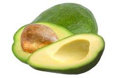 Jeden i dwa pices avocado odizolowywający Fotografia Stock