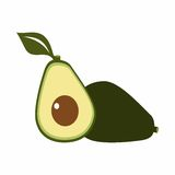 Jeden i przyrodniego avocado wektorowy projekt Zdjęcie Royalty Free