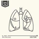 Jeden ikona Sztuczni płuca Obrazy Royalty Free