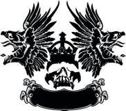 Jeden koloru orzeł Uskrzydla czaszka symbol Zdjęcia Stock