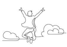 Jeden kreskowy rysunek skacze wysokie chmury szczęśliwy mężczyzna royalty ilustracja