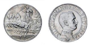Jeden lir Srebnej monety Quadriga Veloce Vittorio Emanuele III 1912 królestwo Włochy Obraz Stock