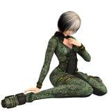 Jeden młoda dziewczyna w futurystycznym kostiumu ciemnozielony kolor od przyszłości Obrazy Royalty Free