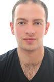 Jeden młody człowiek odizolowywająca twarzy rama Fotografia Royalty Free