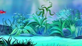 Jeden Mała błękitna pasiasta akwarium ryba w zbiorniku ilustracji