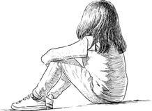 Jeden mała dziewczynka siedzi ilustracji
