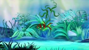 Jeden Mała zieleni akwarium ryba w zbiorniku ilustracja wektor