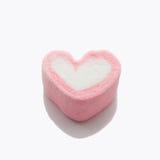 Jeden marshmallow w kierowym kształta valentine pojęciu Zdjęcie Royalty Free