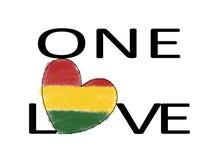 Jeden miłości Rasta reggae serce ilustracja wektor
