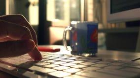 Jeden oddawał komputerową klawiaturę Teksta pisać na maszynie Płytki ostrości 4K strzał, tylny światło słoneczne zdjęcie wideo
