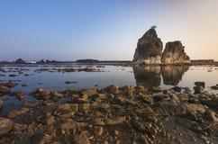 Sawarna plaża w ranku Zdjęcie Royalty Free