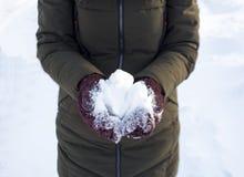 Jeden osoba trzyma snowball w zimie w parku, spacerze, zabawie, sportach i czasie wolnym, zielona kurtka, Burgundy mitynki zdjęcia stock