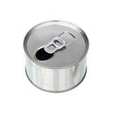 jeden otwiera aluminiową puszkę odizolowywającą na bielu Zdjęcie Stock