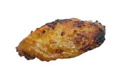 Jeden piec na grillu kurczaka skrzydło odizolowywający na białym tle zdjęcie stock
