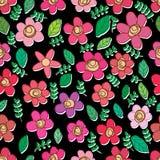 Jeden poważnego kwiatu kwiatu doodle kolorowy bezszwowy wzór Royalty Ilustracja