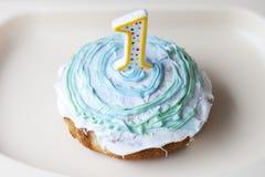 Jeden roczniaka roztrzaskania tort Fotografia Royalty Free