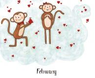 Jeden rok w życiu małpia Lulu Obrazy Royalty Free