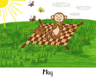 Jeden rok w życiu małpia Lulu Obraz Royalty Free