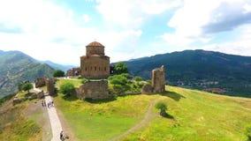 Jeden sławny miejsce w Gruzja - odgórny widok od Jvari monasteru riger i antyczny kapitał Aragvi i Mtikvari zdjęcie wideo