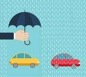 Jeden samochód pod ochroną parasolem, inny - bez ubezpieczenia Obraz Stock