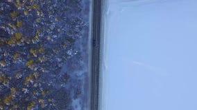 Jeden samochodowy jeżdżenie przez zima lasu na wiejskiej drodze Odgórny widok od trutnia Widok z lotu ptaka droga przez lasu zdjęcie wideo