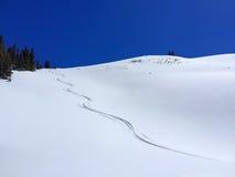 Jeden Skied śniegu ślad na górze z Jasnymi niebami Zdjęcia Stock