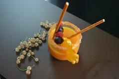Jeden szkło z sok pomarańczowy owoc, malinki, rodzynek, czernica, pomarańcze, agrest, słoma, sahor na brown matte tle Obrazy Royalty Free