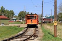 Jeden wiele antykwarscy tramwaje na wygina się poręczach, Seashore tramwaju muzeum, Kennebunk, Maine, 2016 Obrazy Stock